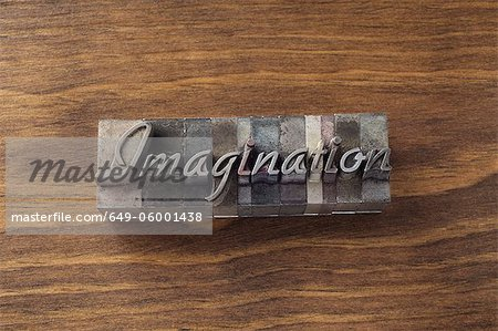 "Lead type spelling ""imagination"" Stock Photo - Premium Royalty-Free, Image code: 649-06001438"