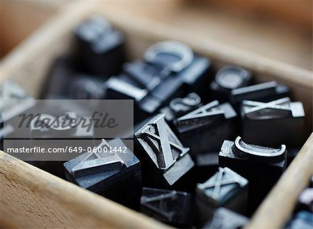 Close up of pile of lead type Stock Photo - Premium Royalty-Free, Image code: 649-06001442