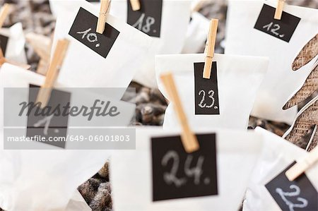 Close up of numbered bags Stock Photo - Premium Royalty-Free, Image code: 649-06001803