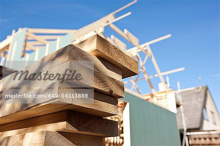 Close up of stacked wood on site Stock Photo - Premium Royalty-Free, Image code: 649-06113888