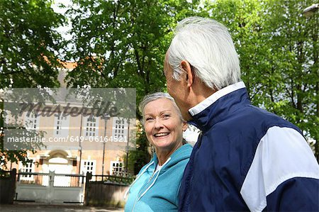Older couple walking in park Stock Photo - Premium Royalty-Free, Image code: 649-06164521