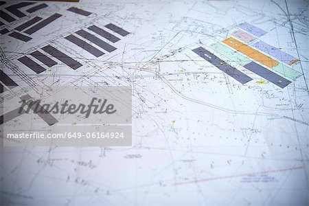 Close up of coal mine blueprints Stock Photo - Premium Royalty-Free, Image code: 649-06164924