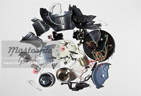 Pile of smashed clock parts Stock Photo - Premium Royalty-Free, Image code: 649-06165316
