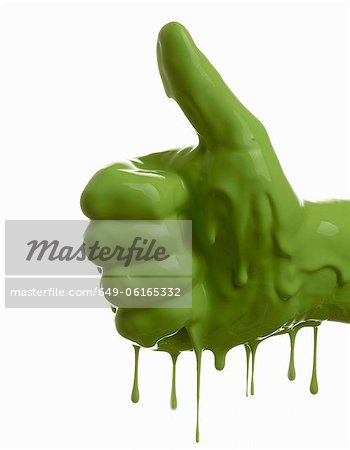 Green painted hand making thumbs-up Stock Photo - Premium Royalty-Free, Image code: 649-06165332