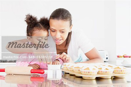 Mother and daughter baking together Stock Photo - Premium Royalty-Free, Image code: 649-06305118