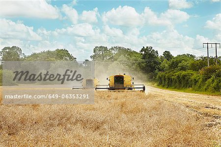 Threshers working in crop field Stock Photo - Premium Royalty-Free, Image code: 649-06353291