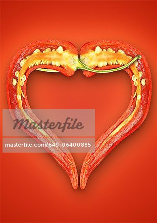 Close up of halved chili pepper Stock Photo - Premium Royalty-Free, Image code: 649-06400885