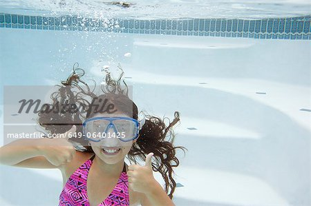 Girl giving thumbs up underwater Stock Photo - Premium Royalty-Free, Image code: 649-06401425