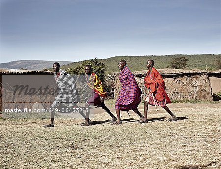 Maasai men walking together Stock Photo - Premium Royalty-Free, Image code: 649-06433215
