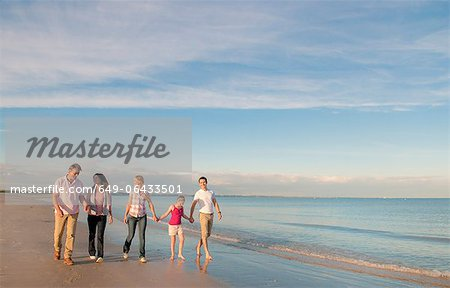 Family walking together on beach Stock Photo - Premium Royalty-Free, Image code: 649-06433501