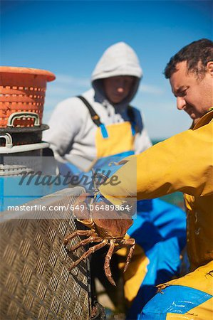 Fisherman at work on boat Stock Photo - Premium Royalty-Free, Image code: 649-06489864