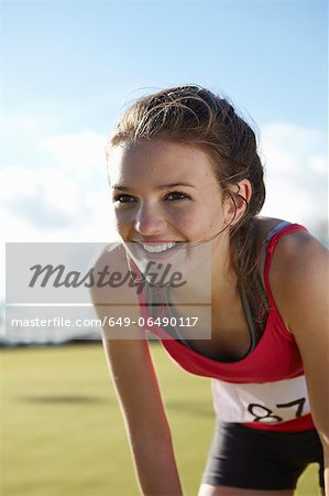 Close up of runners smiling face Stock Photo - Premium Royalty-Free, Image code: 649-06490117