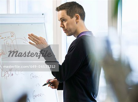 Businessman writing on whiteboard Stock Photo - Premium Royalty-Free, Image code: 649-06533312