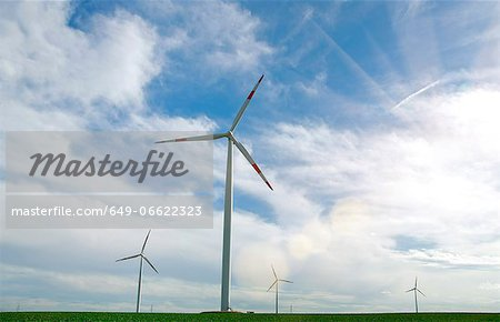 Wind turbines in rural landscape Stock Photo - Premium Royalty-Free, Image code: 649-06622323