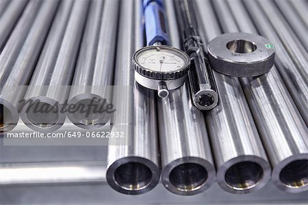 Close up of gauge on metal pipes Stock Photo - Premium Royalty-Free, Image code: 649-06622932