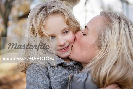Mother kissing daughter outdoors Stock Photo - Premium Royalty-Free, Image code: 649-06623082