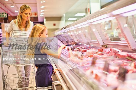 Mother and daughter at butcher counter Stock Photo - Premium Royalty-Free, Image code: 649-06717221