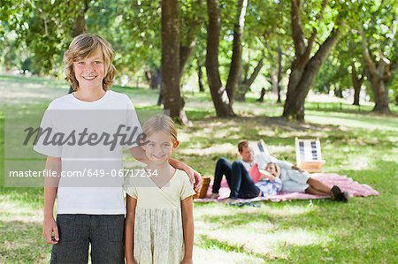 Children smiling in park Stock Photo - Premium Royalty-Free, Image code: 649-06717234