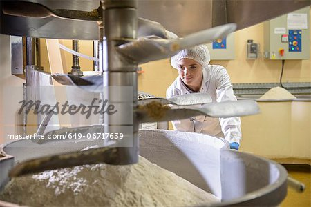 Worker with machinery in biscuit factory Stock Photo - Premium Royalty-Free, Image code: 649-06717639