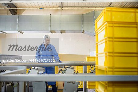 Worker checking production line in factory Stock Photo - Premium Royalty-Free, Image code: 649-06717652