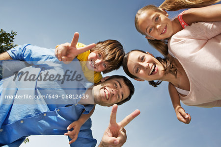 Portrait of family with two children from below Stock Photo - Premium Royalty-Free, Image code: 649-06812439