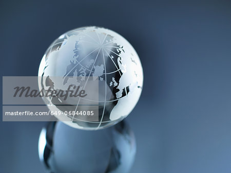 Glass Globe illustrating North and South America, Europe, Russia and Africa Stock Photo - Premium Royalty-Free, Image code: 649-06844085