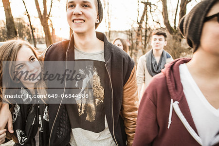Five teenagers walking together Stock Photo - Premium Royalty-Free, Image code: 649-06844588