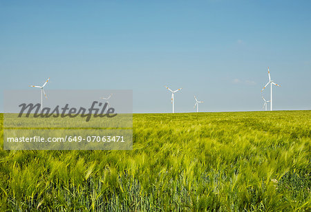 Group of wind turbines, Selfkant, Germany Stock Photo - Premium Royalty-Free, Image code: 649-07063471