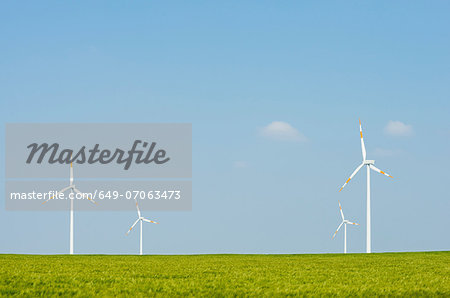 Wind turbines on horizon, Selfkant, Germany Stock Photo - Premium Royalty-Free, Image code: 649-07063473