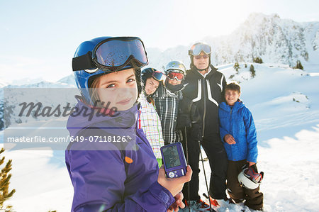 Family of skiers, Les Arcs, Haute-Savoie, France Stock Photo - Premium Royalty-Free, Image code: 649-07118126