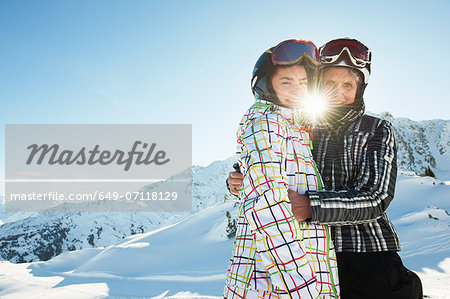 Grandmother and granddaughter hugging, Les Arcs, Haute-Savoie, France Stock Photo - Premium Royalty-Free, Image code: 649-07118129