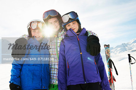 Portrait of brother and sisters in snow, Les Arcs, Haute-Savoie, France Stock Photo - Premium Royalty-Free, Image code: 649-07118138