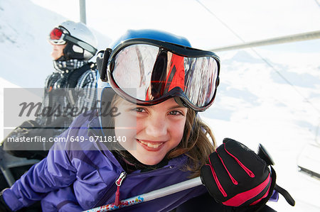 Portrait of young girl on ski lift, Les Arcs, Haute-Savoie, France Stock Photo - Premium Royalty-Free, Image code: 649-07118140