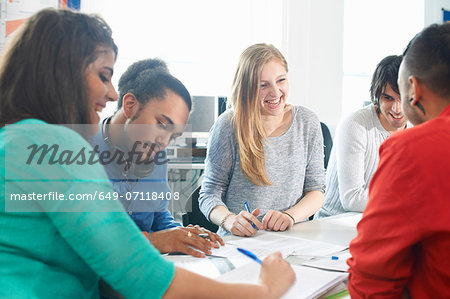 Group of college students studying together Stock Photo - Premium Royalty-Free, Image code: 649-07118408