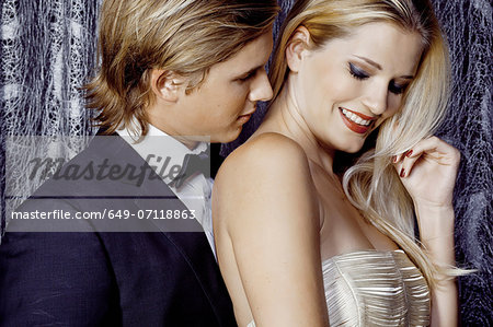 Close up of romantic glamorous young couple Stock Photo - Premium Royalty-Free, Image code: 649-07118863