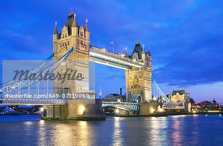 Tower Bridge in evening, London, UK Stock Photo - Premium Royalty-Free, Image code: 649-07119069