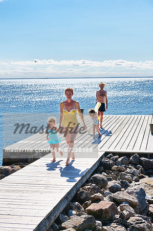Parents and two young girls on pier, Utvalnas, Gavle, Sweden Stock Photo - Premium Royalty-Free, Image code: 649-07238988