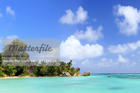 Turquoise sea and trees, La Digue, Seychelles Stock Photo - Premium Royalty-Free, Image code: 649-07239050