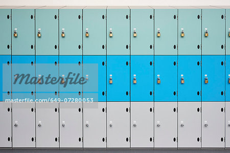 Rows of school lockers with doors closed Stock Photo - Premium Royalty-Free, Image code: 649-07280053