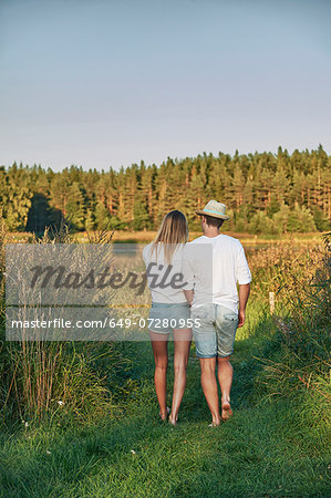 Romantic young couple strolling, Gavle, Sweden Stock Photo - Premium Royalty-Free, Image code: 649-07280955