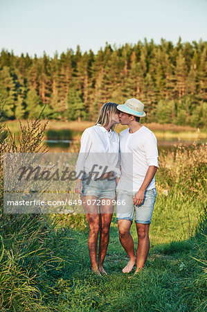 Romantic young couple kissing, Gavle, Sweden Stock Photo - Premium Royalty-Free, Image code: 649-07280966