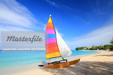 Sailboat on beach, Barbados, Caribbean Stock Photo - Premium Royalty-Free, Image code: 649-07520848
