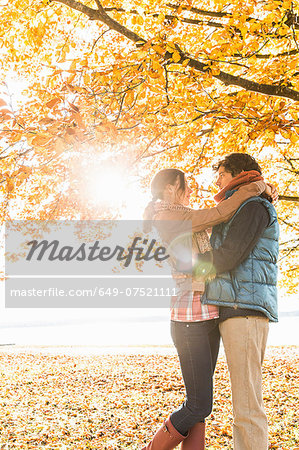 Couple hugging by tree in sunlight Stock Photo - Premium Royalty-Free, Image code: 649-07521111
