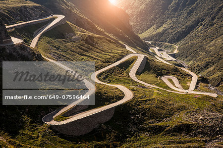 View of old road to Gotthard Pass, Switzerland Stock Photo - Premium Royalty-Free, Image code: 649-07596464