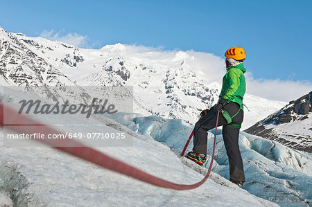 Mature female climber on mountain glacier, Svinafellsjokull, Vatnajokull National Park, Iceland Stock Photo - Premium Royalty-Free, Image code: 649-07710025