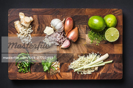 Ingredients for making green curry paste Stock Photo - Premium Royalty-Free, Image code: 649-07710499