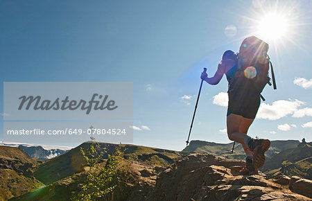 Woman hiking up to Fimmvordurhals Pass above Thorsmork Valley, Thorsmork, South Iceland, Iceland Stock Photo - Premium Royalty-Free, Image code: 649-07804524