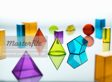 Large group of various multi colored geometric shapes Stock Photo - Premium Royalty-Free, Image code: 649-07905556