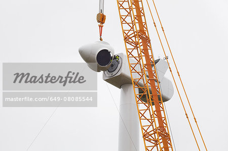 Wind turbine being erected Stock Photo - Premium Royalty-Free, Image code: 649-08085544