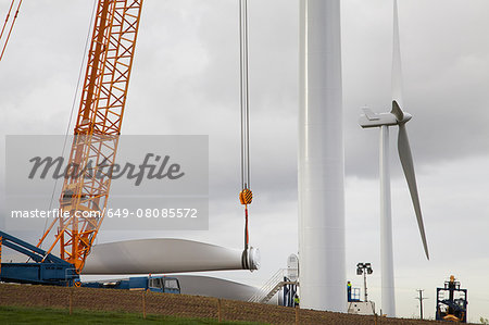 Wind turbine being erected Stock Photo - Premium Royalty-Free, Image code: 649-08085572